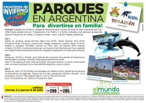 Vacaciones de Invierno, parques en Argentina
