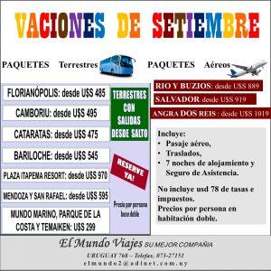 Vacaciones de Setiembre, aereos